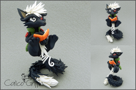 Custom Fox sculpture - polymer clay by CalicoGriffin