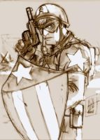 Captain America sepia tones by scarecrowhassan