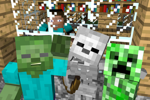 The Mobs time to party (Minecraft 3D) by CactusKnight