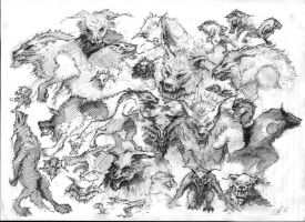 Werewolves thumbnails and concepts by 4AcrossIsEmu