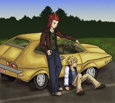 KH2: Axel + Roxas + Oldcar OT3 by caffinatedshinigami