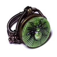 Steampunk Ring - Green Spider by CatherinetteRings