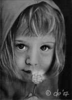 Girl with flower - graphite by corienb