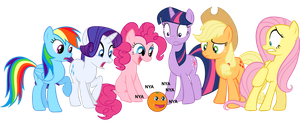 Mane 6 and The Annoying Orange by d-azulrgb