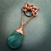 Labradorite in chainmaille pendant WIP by Pastely