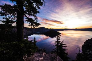 Crater lake Wizard Island sunrise by LordDirtBag