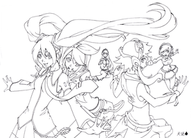 Vocaloid Girls - Lineart by baranot3nshi