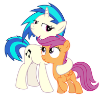 Vinyl Scratch and Scootaloo by Gitzomailru