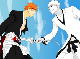 Ichigo vs Hollow Ichigo by tasumichan
