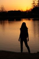 Silhouette above the water by koco48