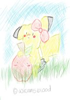Pikachu and Apple by WicansBlood