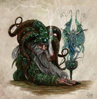 Wise Wizard and Water Nimph by DavidDavies