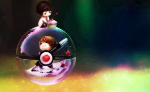 Chibi Deathnote Pokeball (featuring L and Light) by wazzy88
