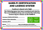 Toadlover's Let's Fight Game-Fi Certificate by LevelInfinitum
