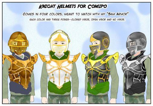 Knight Helmets for Comipo by Lady-Aurora-Moon