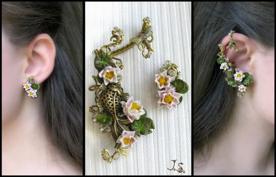 Summer pond earcuff and stud by JuliaKotreJewelry