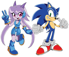 Sash Lilac and Sonic the Hedgehog by Cyclone97