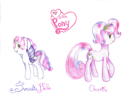 Sweetie Belle and Cheerile by lillyflover