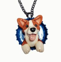 Corgi Pop-out Necklace by LeiliaClay