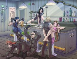 FF7 bar scene commission by madmagnus