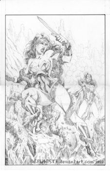 Wonder Woman vs Circe_pencils by debuhista