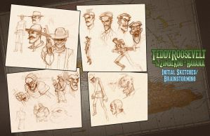 Teddy R. And Zombie King-- Initial Sketches by billydallaspatton