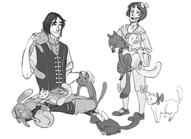 corvo, emily and cats by meagkhan