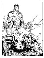 Ironman vs Iron Patriot inked by sketchheavy