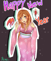 Orihime, Shuno, and Ayame say Happy New Year! by keitoz
