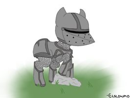 Armored Pony (Drawing Request) by Elslowmo
