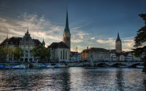 Limmat rivier and Fraumunster church by roman-gp