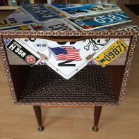 License plates assemblage end table  by aldosart
