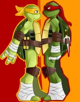 TMNT Mikey and Raph by Nemesis-Nexus