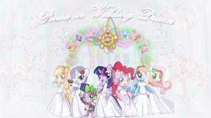 FiM: Ponies in Wedding Dresses Wallpaper by M24Designs