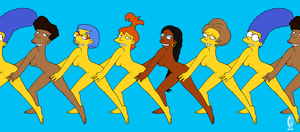 The Simpsons - Conga Line in the nude! by Chesty-Larue-Art