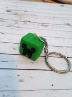 Creeper Head keychain made from polymer clay by InsaneJellyBean95