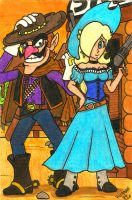 Cowboys and Mushrooms: Waluigi and Rosalina by Villaman89