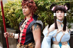 Leixia and Xiba Cosplay. Panda Hunters. by JFamily