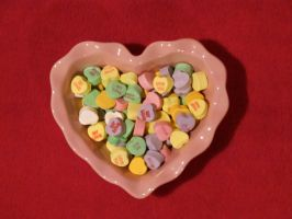 Valentine's Day - Candy Hearts - in pink dish by boxcamera