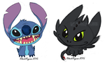 Chibi Stitch and Toothless by BlackRayser
