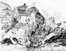 Hulk vs. Heroes For Hire Commission by jey2dworld