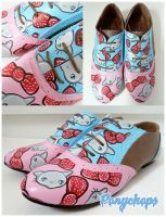 Pink and Blue Kitty Brogues by ponychops