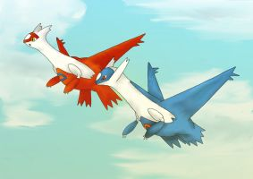 Latias and Latios by artisticpuppy