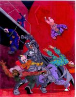 Batman vs Clown Thugs by RadPencils