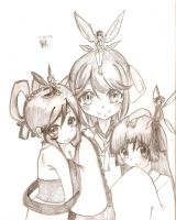 three sisters w/ thier fairies :P by Claire1998