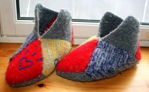 Ugly felted scrap slippers by KnitLizzy