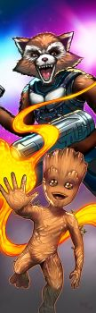 Rocket and Baby Groot Panel Art by RichBernatovech