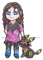 Me and my Umbreon - chibi by RonTheWolf
