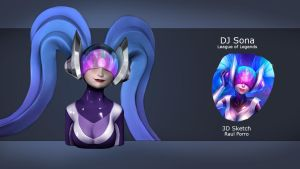 Daily 3D Sketch - DJ Sona from League of Legends by Continum