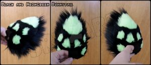Commission: Bunnytail Black and Neongreen by BeccaRedPanda